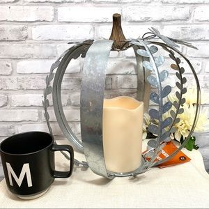 Oversized Galvanized Pumpkin LED Decor